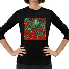 Red Turquoise Abstract Background Women s Long Sleeve Dark T-Shirts