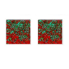 Red Turquoise Abstract Background Cufflinks (square)