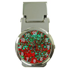 Red Turquoise Abstract Background Money Clip Watches