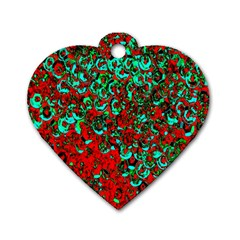 Red Turquoise Abstract Background Dog Tag Heart (Two Sides)