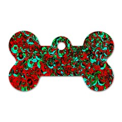 Red Turquoise Abstract Background Dog Tag Bone (two Sides)