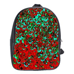 Red Turquoise Abstract Background School Bags(Large)