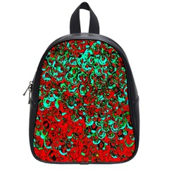 Red Turquoise Abstract Background School Bags (Small)