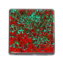 Red Turquoise Abstract Background Memory Card Reader (Square)