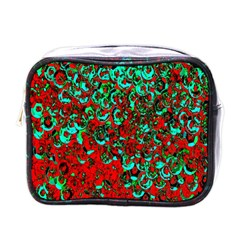 Red Turquoise Abstract Background Mini Toiletries Bags