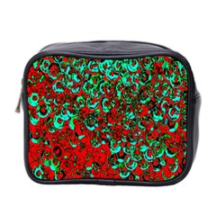 Red Turquoise Abstract Background Mini Toiletries Bag 2-Side