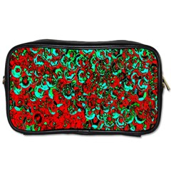 Red Turquoise Abstract Background Toiletries Bags