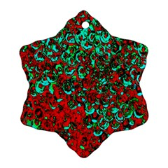 Red Turquoise Abstract Background Ornament (Snowflake)