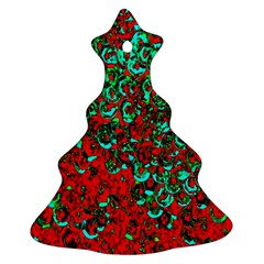 Red Turquoise Abstract Background Ornament (christmas Tree)