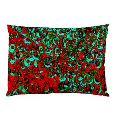 Red Turquoise Abstract Background Pillow Case (Two Sides)