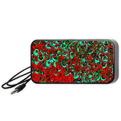Red Turquoise Abstract Background Portable Speaker (Black)