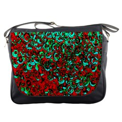 Red Turquoise Abstract Background Messenger Bags