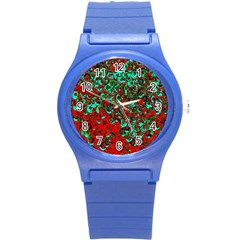 Red Turquoise Abstract Background Round Plastic Sport Watch (S)