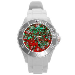 Red Turquoise Abstract Background Round Plastic Sport Watch (l)