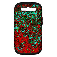 Red Turquoise Abstract Background Samsung Galaxy S III Hardshell Case (PC+Silicone)