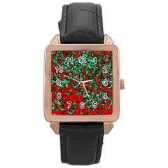 Red Turquoise Abstract Background Rose Gold Leather Watch