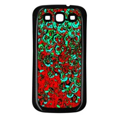 Red Turquoise Abstract Background Samsung Galaxy S3 Back Case (black)