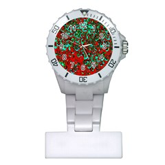 Red Turquoise Abstract Background Plastic Nurses Watch