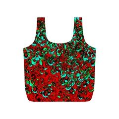 Red Turquoise Abstract Background Full Print Recycle Bags (S)