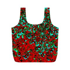 Red Turquoise Abstract Background Full Print Recycle Bags (M)