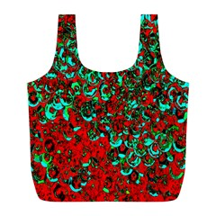 Red Turquoise Abstract Background Full Print Recycle Bags (L)