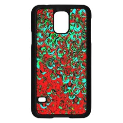 Red Turquoise Abstract Background Samsung Galaxy S5 Case (Black)
