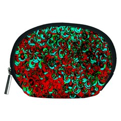 Red Turquoise Abstract Background Accessory Pouches (Medium)