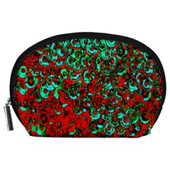 Red Turquoise Abstract Background Accessory Pouches (large)