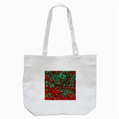 Red Turquoise Abstract Background Tote Bag (white)