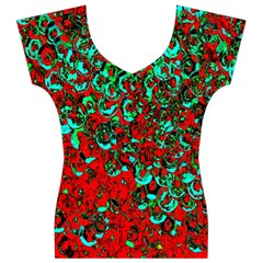 Red Turquoise Abstract Background Women s V-Neck Cap Sleeve Top