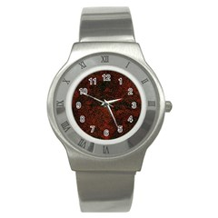 Olive Seamless Abstract Background Stainless Steel Watch