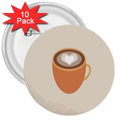 Artin Coffee Chocolate Brown Heart Love 3  Buttons (10 pack)