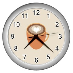 Artin Coffee Chocolate Brown Heart Love Wall Clocks (Silver)