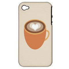 Artin Coffee Chocolate Brown Heart Love Apple iPhone 4/4S Hardshell Case (PC+Silicone)