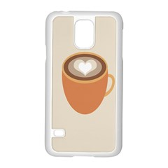 Artin Coffee Chocolate Brown Heart Love Samsung Galaxy S5 Case (White)