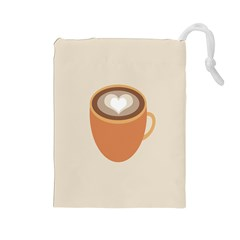 Artin Coffee Chocolate Brown Heart Love Drawstring Pouches (Large)