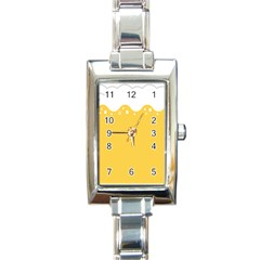 Beer Foam Yellow White Rectangle Italian Charm Watch