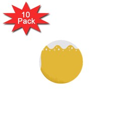 Beer Foam Yellow White 1  Mini Buttons (10 pack)