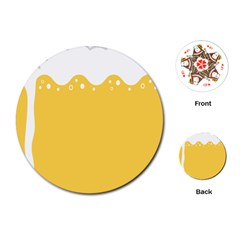 Beer Foam Yellow White Playing Cards (Round)