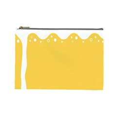 Beer Foam Yellow White Cosmetic Bag (Large)