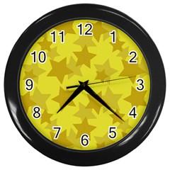 Yellow Star Wall Clocks (Black)