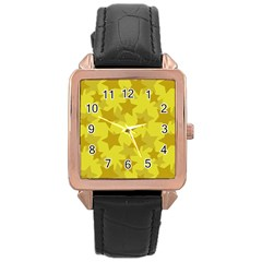 Yellow Star Rose Gold Leather Watch