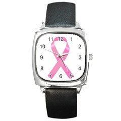 Breast Cancer Ribbon Pink Square Metal Watch