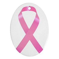 Breast Cancer Ribbon Pink Oval Ornament (Two Sides)
