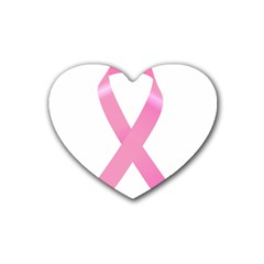 Breast Cancer Ribbon Pink Rubber Coaster (Heart)