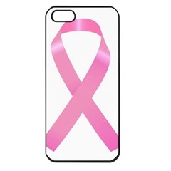 Breast Cancer Ribbon Pink Apple iPhone 5 Seamless Case (Black)