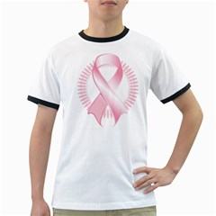 Breast Cancer Ribbon Pink Girl Women Ringer T-Shirts