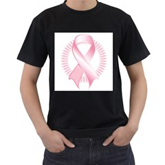 Breast Cancer Ribbon Pink Girl Women Men s T-Shirt (Black) (Two Sided)
