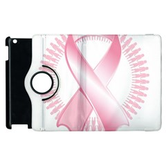 Breast Cancer Ribbon Pink Girl Women Apple Ipad 3/4 Flip 360 Case