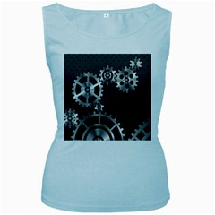 Chain Iron Polka Dot Black Silver Women s Baby Blue Tank Top